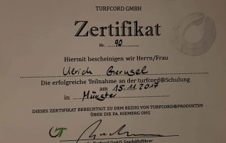 Zertifikat TURFCORD GMBH